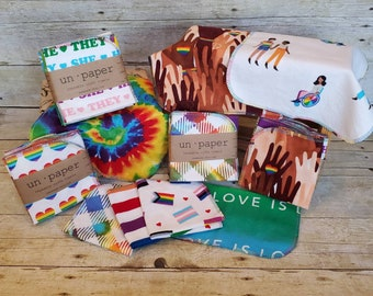Un Paper Reusable Napkins - Pride Collection - Single-Ply - Set of 6   Cloth Napkins   Cloth Wipes   Cloth Towels   from mamamade