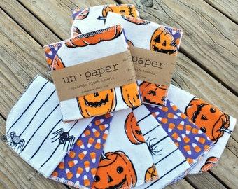 Un Paper - Reusable Napkins - Single-Ply - Set of 6 - HALLOWEEN   Cloth Napkins   Cloth Wipes   Cloth Towels   Reusable Napkins mamamade