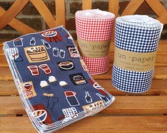 Unpaper Reusable Cloth Towels or Cloth Napkins - CHOOSE YOUR PRINT - Cotton Flannel and Birdseye - Set of 15 - Un Paper Towels
