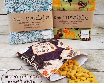 Reusable Sandwich or Snack Bag - Choose Your Print   Zero Waste   Eco Friendly   Sustainable   Lunch Bag from mamamade