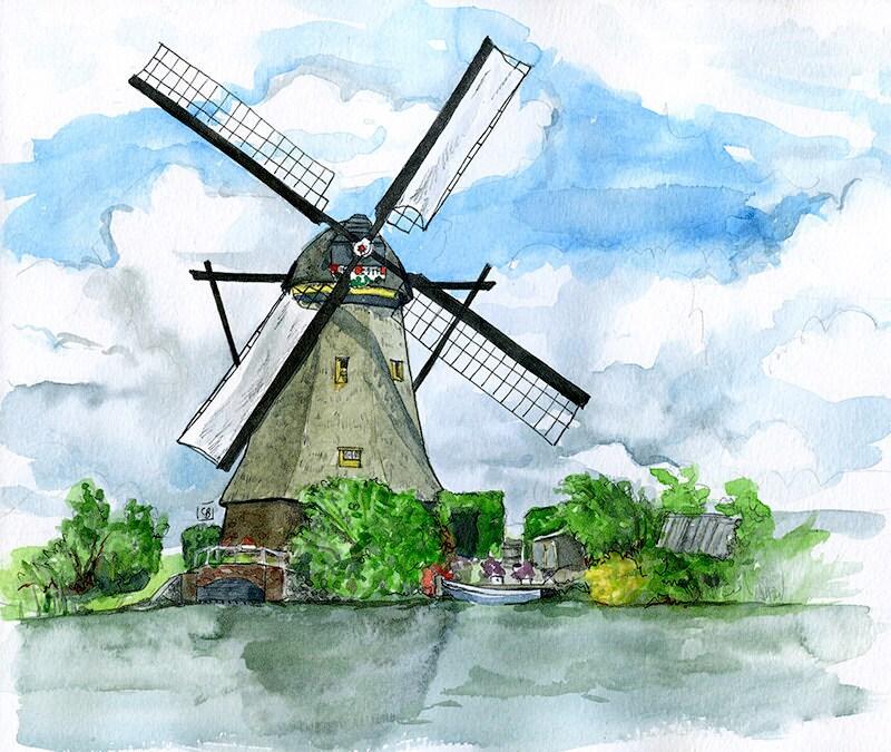 Kinderdijk Windmühle Niederlande: Gemälde Landschaft 11 x   Etsy