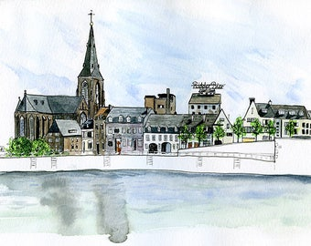 "Maastricht, Netherlands: 11x17"" Archival Print of Watercolour Travel Plein Air Landscape Painting"