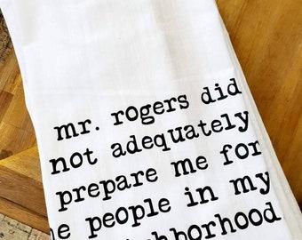 Mr Roger's Neighborhood Tea Towel Flour Sack Towel Dish Cloth, Cotton Kitchen Towel, Hostess, Housewarming  Gift