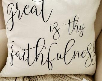 "Great is Thy Faithfulness Cotton Pillow Cover 20"" x 20"" Modern Farmhouse Hymn"