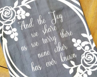 In the Garden Hymn GRAY Tea Towel Flour Sack Towel Dish Cloth, Cotton Kitchen Towel, Hostess Gift, Wedding Shower Gift