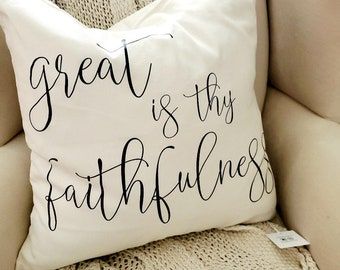 """Great Is Thy Faithfulness Hymn Canvas Pillow Cover 18"""" x 18"""" Cottage Modern Farmhouse Neutral Beige Song"""