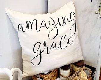"Amazing Grace Hymn Canvas Pillow Cover 18"" x 18"" Cottage Modern Farmhouse Neutral Beige Church Song"