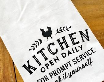 Kitchen Open Chicken Self Service Tea Towel Flour Sack Towel Dish Cloth, Cotton Kitchen Towel, Hostess, Housewarming Gift Funny