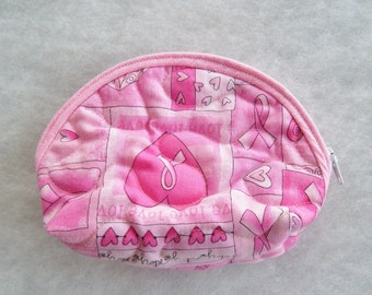 Small Quilted Purse - Breast Cancer awareness pink