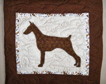 Doberman - Quilted Dog throw pillow 16 inches