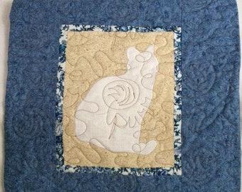 CAT in white  - Quilted throw pillow 16 inches