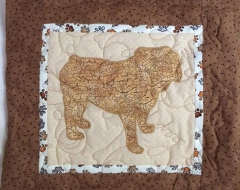 Bulldog - Quilted Dog throw pillow 16 inches