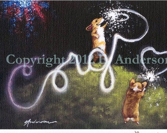 """Evie Anderson Corgi Art SIGNED PRINT """"Say It With Sparklers"""" Pembroke Welsh Corgis (signed, matted)"""