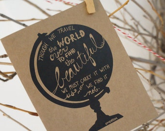 Travel stationery etsy stationery card set travel the world card set globe set of 12 note cards silhouette gumiabroncs Images