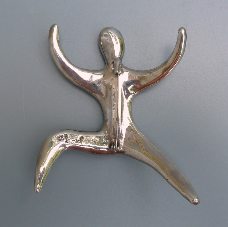 Vintage Modernist Silver Pin Danish Modernist Sterling Brooch Sterling Climbing Man Pin Gift For Her Georg Jensen Style Sterling Brooch