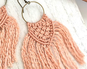 Macrame Hoop Earrings. Long Fringe Tassel in Soft Natural Cotton Thread. Unique Modern Handmade Statement Jewelry. Mauve Blush Pinks + More