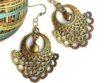 Boho Chandelier Earrings Uniquely Handmade Jewelry with Gypsy + Hippie Vibe Statement in Antique Bronze