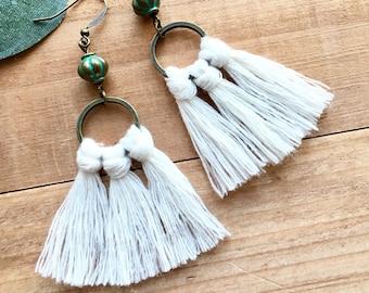Boho Fringe Tassel Earrings + Macrame + Vintage Vibe Verdigris Brass Bead   Trending Fun + Flirty Jewelry Gift for Daughter or Girlfriend
