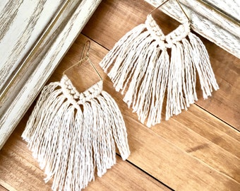 Macrame Fringe Earrings   Unique Boho Statement Jewelry Handmade with Long Tassel in Soft Natural Cotton Thread   Modern Geometric Thin Wire