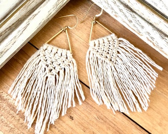 Fringe Macrame Earrings. Long Soft Tassel in Natural Cotton Thread. Hippie Boho Unique Statement Jewelry. Modern Geometric Knotted Textile