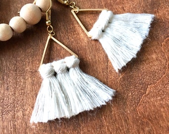 Small Fringe Tassel Earrings on Thin Modern Geometric Dangles in Ivory Cotton Cord for Unique Boho Statement Jewelry   Daughter, Friend Gift
