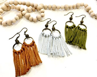 Fringe Tassel Earrings + Antique Brass Beads   Boho Jewelry Gift for Daughter or Girlfriend   Any length cotton thread fringe  + Many colors