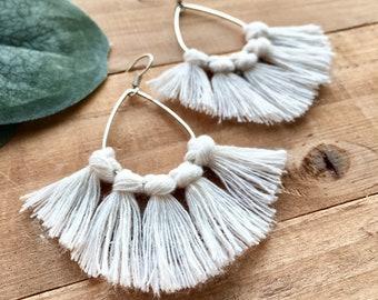 Fringe Tassel Earrings on Silver Teardrop Hoops + Hippie Boho Macrame Jewelry Gift for Daughter + Soft Ivory Tassels are so Lightweight