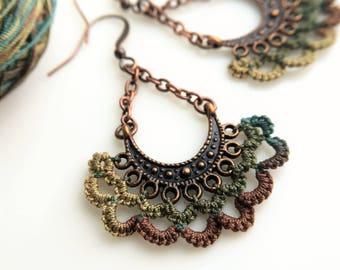 Long Boho Chandelier Earrings- Half Moon Antique Copper Dangle Drop Jewelry - Handmade Unique Wife Gift Women- Hippie Tribal Festival Ethnic