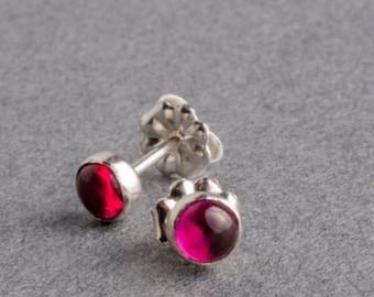 Ruby Silver Dot Stud Earrings