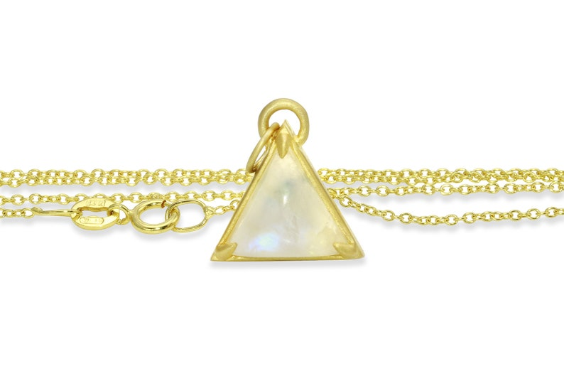 14K gold rainbow moonstone triangle necklace strength necklace