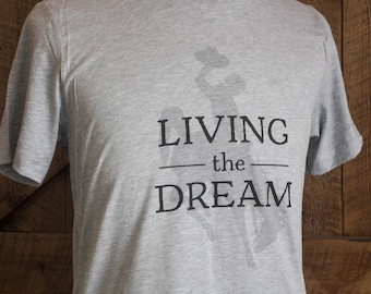 Living the Dream Wyoming style - Men's Wyo bucking horse t-shirt