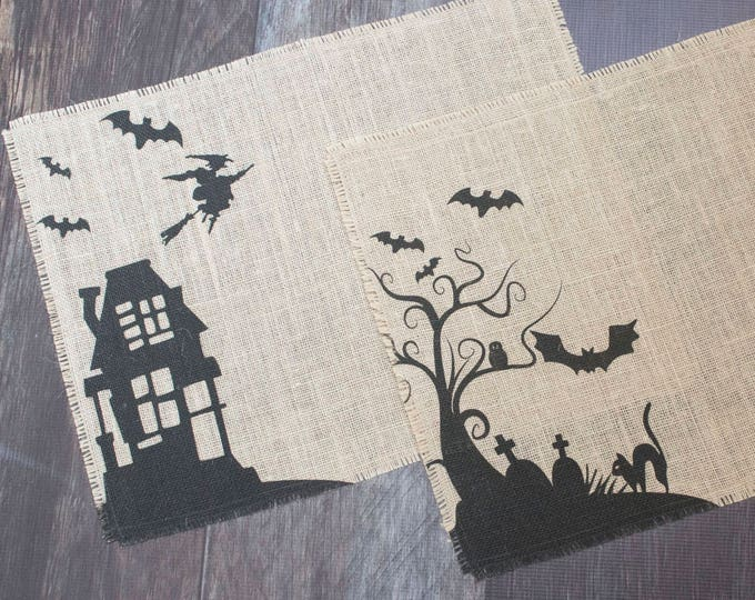 Featured listing image: Spooky Halloween burlap placemats - set of two mats featuring bats, black cats and a flying witch