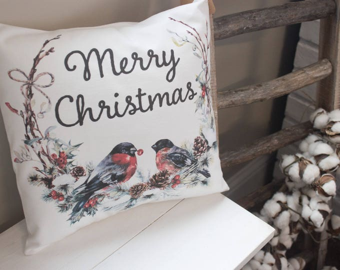 Featured listing image: Merry Christmas Wreath throw pillow - Holiday bullfinch bird and feather rustic farmhouse style gift
