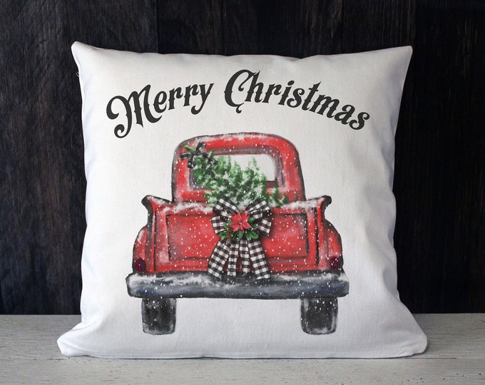 Featured listing image: Merry Christmas vintage truck twill throw pillow
