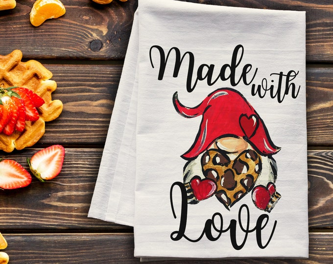 Featured listing image: Made with Love Gnome - Valentine's Day premium tea towel
