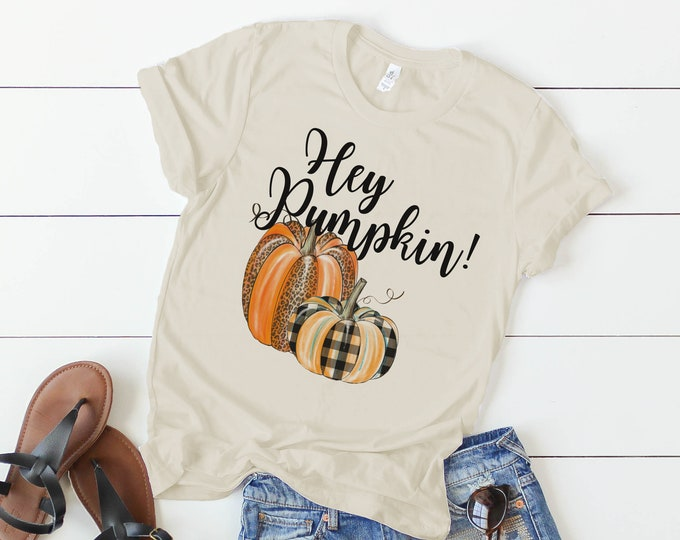 Featured listing image: Hey Pumpkin!  t-shirt - leopard print and buffalo check autumn tee