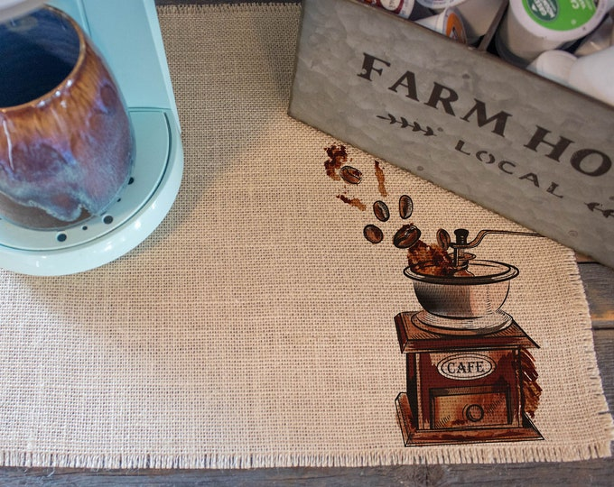 Featured listing image: Vintage Coffee Grinder - burlap coffee maker placemat, coffee bar home decor