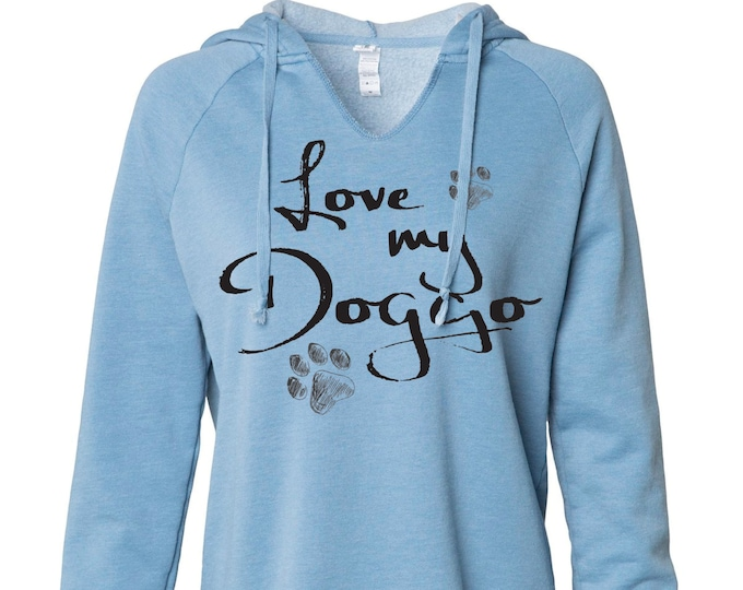 Featured listing image: Love my Doggo ladies hooded pullover sweatshirt - three color choices