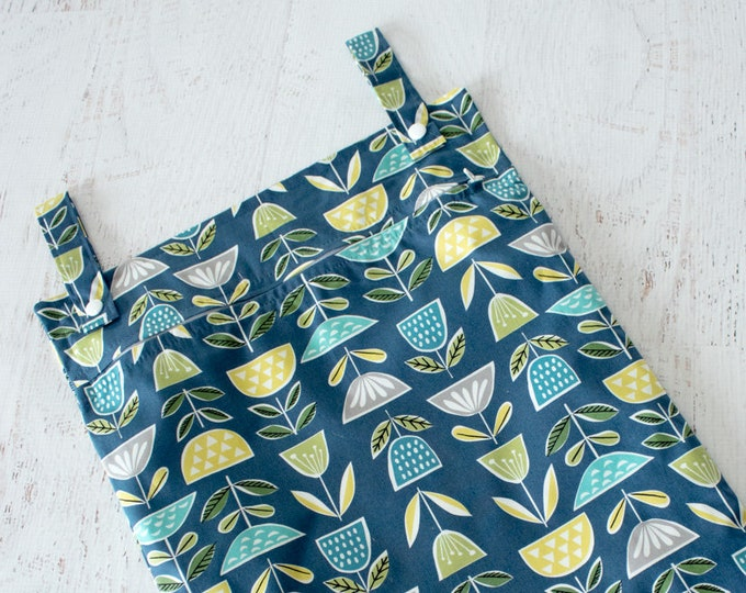 Featured listing image: READY TO SHIP Organic cotton kitchen wet bag in Blue Green and Grey Scandinavian style flowers