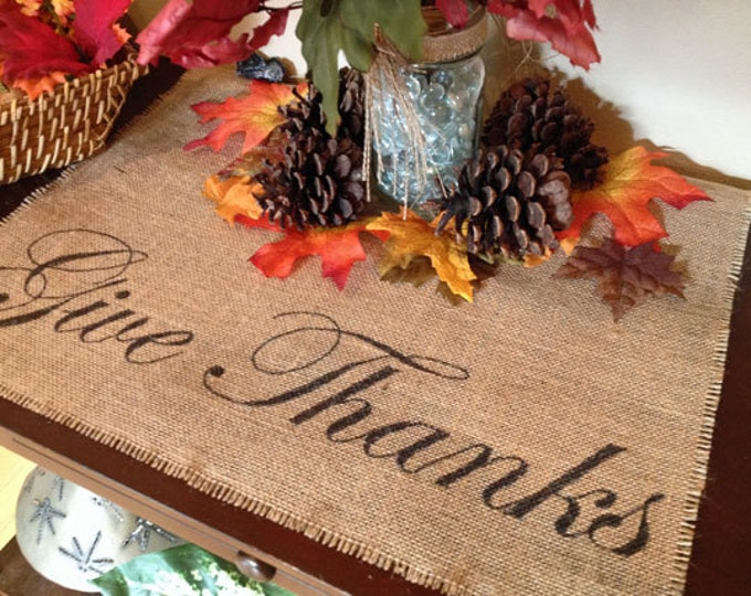 Featured listing image: Give Thanks burlap centerpiece mat