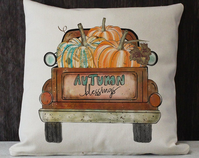 Featured listing image: Autumn Blessings vintage truck twill throw pillow