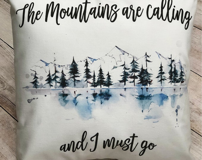 Featured listing image: The Mountains are calling and I must go watercolor art on soft white throw pillow