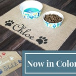 Custom colored puppy dog pet placemat for dog food bowls - personalized with your pets name