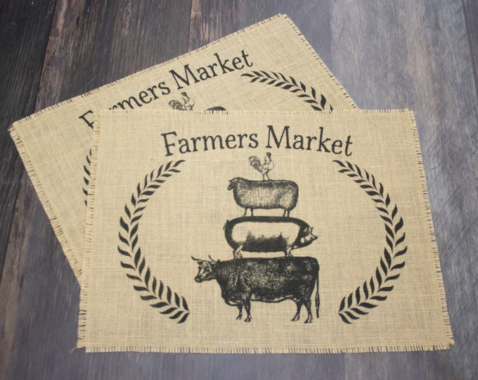 Featured listing image: Farmer Market burlap placemats - set of two farmhouse style decor gift idea