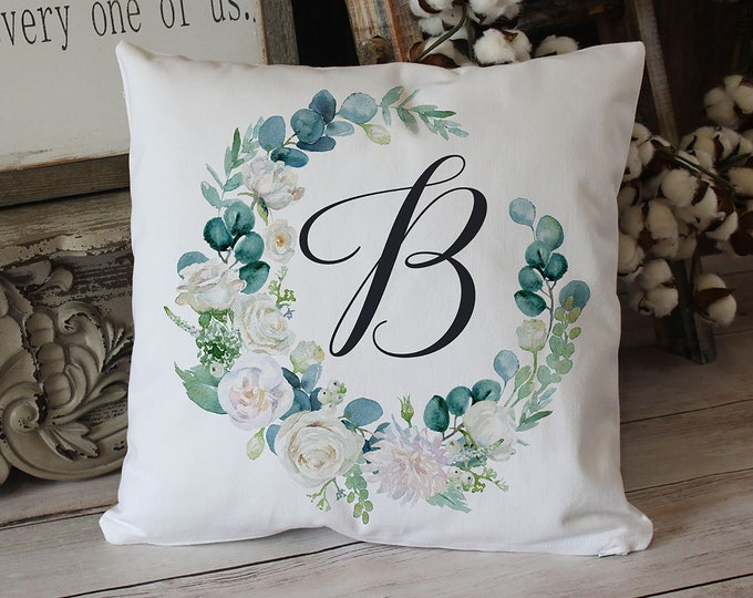 Featured listing image: Eucalyptus wreath Monogram pillow on soft white twill - elegant wedding, or housewarming gift
