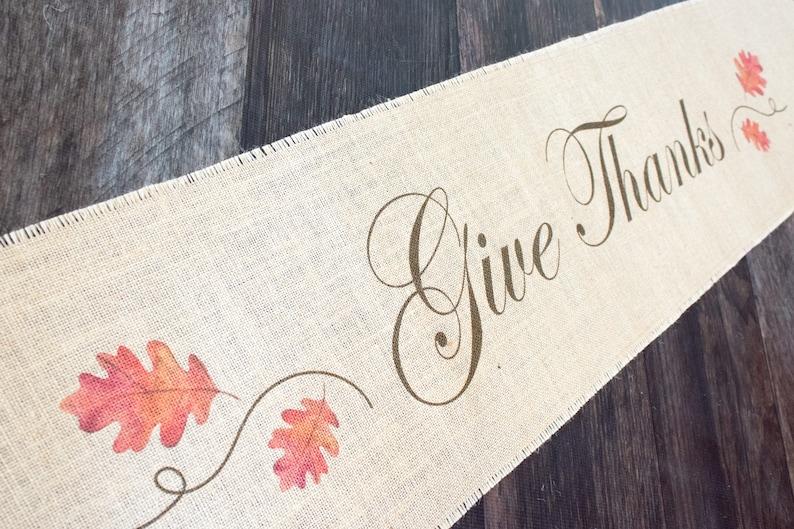 Give Thanks Oak Leaves  Thanksgiving harvest themed burlap image 0