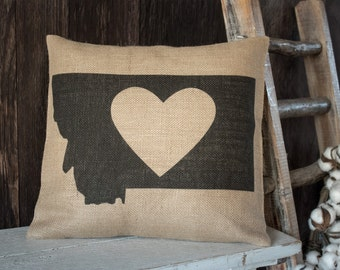 My heart is in Montana burlap throw pillow -