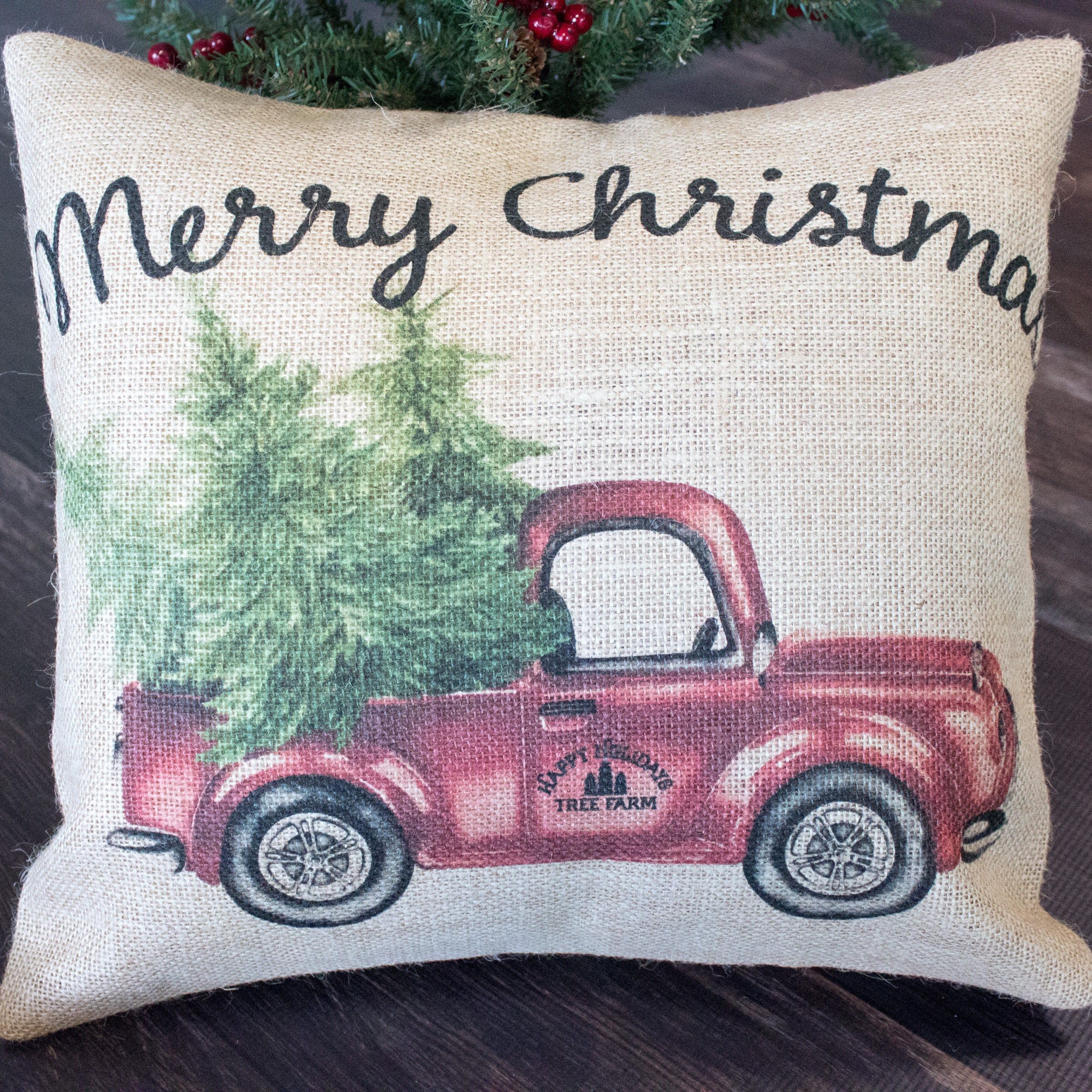 Picture of: Merry Christmas Burlap Throw Pillow