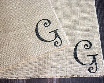 Monogrammed burlap placemats for farmhouse style cottage chic home decor with a fun whimsical font  set of two personalized custom order