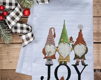 Gnomes of Christmas Joy Dish Towel -   premium flour sack tea towel Holiday kitchen decor winter decorations